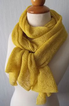 Solid Chartreuse yellow Linen open Scarf Lace Shawl Knitted Natural by LaimaShop