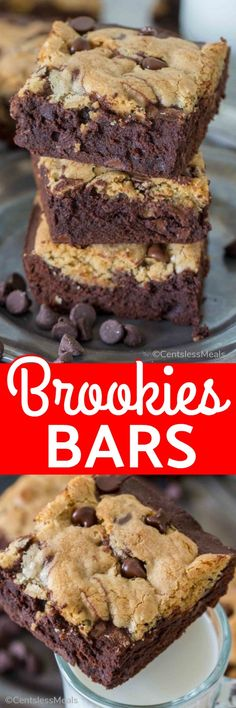 Brookies Bars are so easy, yet sinfully delicious! They are a combination of gooey, chocolatey brownies topped with a buttery chocolate chip layer to create an unforgettable dessert! #centslessmeals #dessert #easyrecipe #easytreats #easycookiebrownies #kidfriendly
