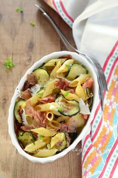 Baked Pasta with Zucchini and Bacon