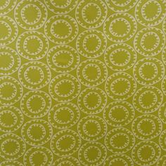 This is a green and white geometric circle within a circle cotton drapery fabric, suitable for any decor in the home or office.  Perfect for pillows, drapes and bedding.  v281  TRF
