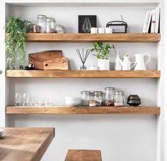 Timber Shelves, Wooden Floating Shelves, Floating Shelves Kitchen, Rustic Floating Shelves, Solid Wood Shelves, Kitchen Shelves, Pine Shelves, Rustic Wooden Shelves, Walnut Shelves