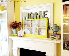 Mantelpiece for Windows   ... an old window last year in a frugal fireplace mantel makeover post