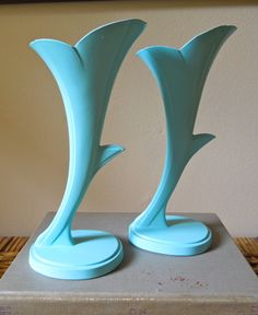 vintage brass vases painted turquoise SET of by stuartroadvintage, $15.00