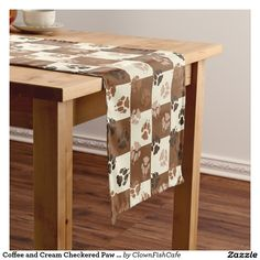 Coffee and Cream Checkered Paw Print Pattern Short Table Runner - Who got these muddy paw prints all over my nice linens? This fun table runner, which coordinates with other items in the Wiener Dog Coffee Collection, features a coffee and cream colored checkerboard pattern spattered with dachshund paw prints in various shades of brown. It's sure to bow wow a dog lover…