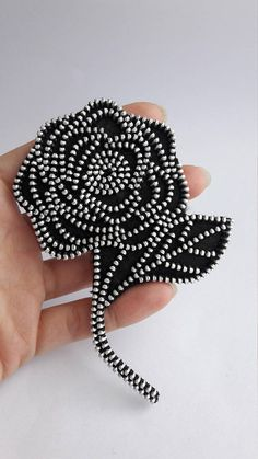Black rose flower brooch Black rose brooch Flower brooch Black