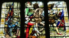 The stained glass window in the Great Hall in Dyffryn House.