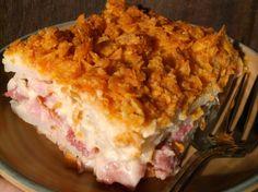 HAM AND POTATO CASSEROLE #potato #Casserole #ham #cheesy #creamy #potluck #easter #comfort-food #crunchy topping #hickory smoked ham #justapinchrecipes