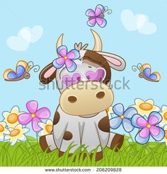 Cow with flowers and butterflies