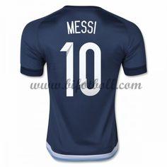 Billiga Fotbollströjor Argentina 2016 Lionel Messi 10 Kortärmad Borta Landslaget Tröja