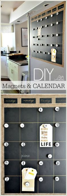 #DIY Magnetic Chalkboard Calendar Tutorial at the36thavenue.com Easy to make and perfect for the side of the fridge!
