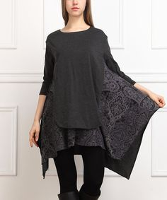 Reborn Collection Charcoal Damask Layered Sidetail Tunic | zulily