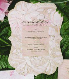 Floral pattern menu on wood #handpainted #weddinginvitations Katie Stoops Photography