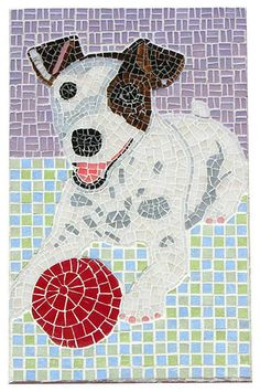 Custom jack russell terrier mosaic dog portrait by CreativeArfs.com