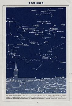 Antique STAR MAP The Stars in December vintage star map Astronomy star chart navy constellation chart