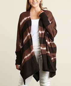 Another great find on #zulily! Brown Tie-Dye Side-Slit Open Cardigan - Plus #zulilyfinds