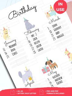 Monthly Planner Printable, Printable Calendar Template, Weekly Planner, Planner Stickers, Planner Ideas, Free Printable, Birthday Calender, Birthday Tracker, Kids Calendar