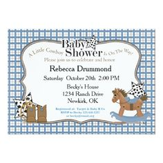 "Rocking Horse Cowboy Baby Shower Invitation 5"" X 7"" Invitation Card"