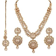 I Jewels Women's Traditional Gold Plated Kundan Necklace Set With Maang Tikka White