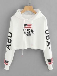 Romwe Drop Shoulder American Flag Print Hoodieone-size