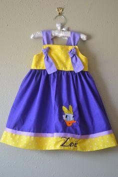 Disney knot dress Daisy Duck birthday dress Daisy dress birthday outfit by boogerbearpunkinpooh