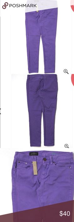 """🆕 J.Crew Purple Skinny Leg Jeans Sz 28 Tall ☀️ Brand new with tags! Thank you for looking! Low rise waist. 28"""" inseam 8"""" rise 32"""" waist 98% cotton 2% elastane J. Crew Jeans Skinny"""