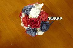 Wedding, Sola wood Bouquet, Navy Red Fall Bouquet, Bridal Bouquet, Sola flowers, Bouquet, Handmade
