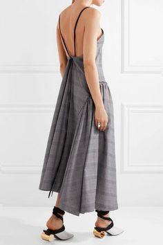 Cédric Charlier - Asymmetric Faux Leather-trimmed Plaid Cotton Dress - Light gray - IT42