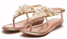 High Quality Bohemian hand-beaded diamond Roman Genuine leather low heel flat thong wedge sandals Gold silver color flip-flops(China (Mainland))
