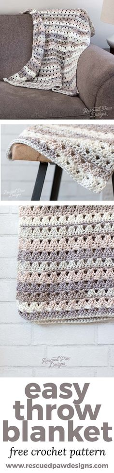 Make this simple and stunning crochet throw today! Grab the free crochet pattern to get started! #crochet #crochetthrow #freepattern #crochet www.rescuedpawdesigns.com #crochetpatterns