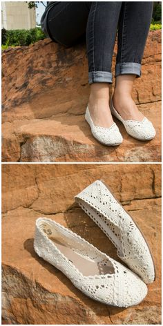 Add some feminine flair to your shoe collection with the crochet Charlotte flat!