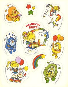 Vintage 80's Hallmark Rainbow Brite Sticker Sheet