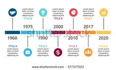 Vector arrows timeline infographic, diagram chart, graph presentation. Business infographics concept with options, parts, steps, processes. 7 time periods and points. Years from past to future.