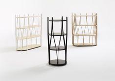 Alva shelves by Rainer Mutsch for Swedish brand Karl Andersson & Söner Available in ash or oak in various colours. Corner Storage, Storage Room, Bookcase Storage, Round Shelf, Divider Design, Hygge, Wooden Frames, Bookshelves, Magazine Rack