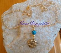 Blue Vein Agate & Heart Necklace by IreneDesign2011