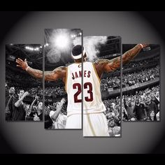 4 Pieces Multi Panel Modern Home Decor Framed Lebron James Cleveland Cavaliers Wall Canvas Art Painted Ladies, Poster Pictures, Canvas Pictures, Gustav Klimt, Boys Basketball Bedroom, Basket Nba, King Lebron James, King James, Avengers Film