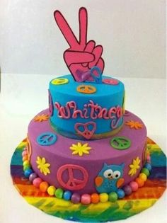 Lisa Frank Owl, Peace & Rainbow Cake
