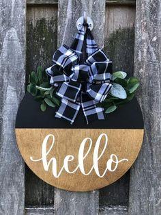 Wooden Wedding Gifts, Groomsmen gifts by IntraSStudio Wooden Door Signs, Front Door Signs, Wooden Door Hangers, Diy Wood Signs, Porch Signs, Front Door Decor, Country Wood Signs, Wood Signs For Home, Blue Christmas Decor