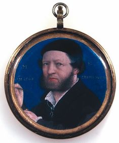 Lucas Horenbout (artist) - Portrait of Hans Holbein aged 45 years - dated 1543 (only 4.2cm in diameter) Wallace Collection, London