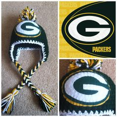 Crochet Greenbay Packers Beanie -- if i ever get any good with my knitting, etc, this will be a danger.