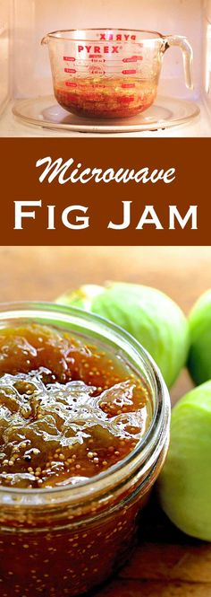 Fig jam made with figs, orange, lemon, ginger, cloves, and cinnamon. Small batch, easy to make in the microwave!