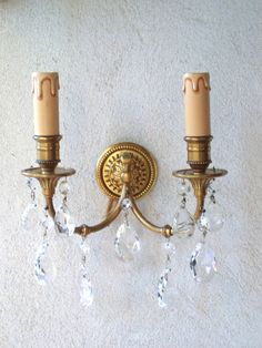 Antique French Wall Sconce Lights Gilt Bronze by FrenchMarketFinds : antique french wall sconces - www.canuckmediamonitor.org