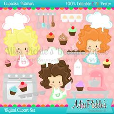 This super cute Cupcake Kitchen themed clip art  set includes 37 separate,     High Resolution 300 dpi JPG (white  backgrounds) and PNG (transparent     background) file formats, and 8 High Resolution JPG  Digital Polka Dot Papers. (The pink on pink polka dot pattern shown on the set preview image is not included with the download.)
