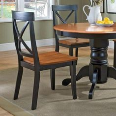 Home Styles Black & Cottage Oak Dining Chair - Set of 2 | from hayneedle.com