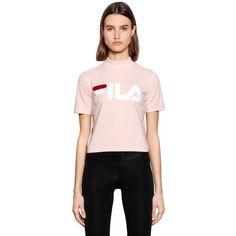 Fila Urban Women Logo Cotton Jersey Shirt ($55) ❤ liked on Polyvore featuring tops, pink, pink shirt, cotton jersey, logo shirts, cotton jersey shirt and fila shirt