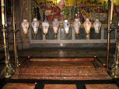 Just inside the entrance is The Stone of Anointing, also known as The Stone of Unction, which tradition claims to be the spot where Jesus' body was prepared for burial by Joseph of Arimathea.