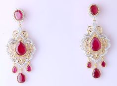 American Diamond Gold Plated New Fashion Bollywood Style Pink Ruby Long Earring  #VardhamanGoodwill #DropDangle