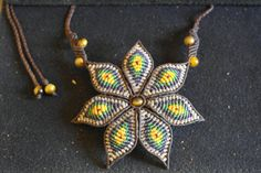 Macrame Flower with Tiger's eye beads..