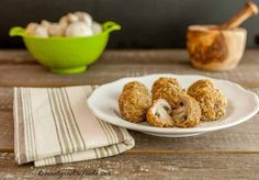 Crispy Oven Fried Garlic Mushrooms are grain free, low carb, gluten free breaded, and easy to make and bake. So insanely good with paleo option.