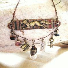 """assemblage charm necklace """"VIntage Vixen"""" by D. Elsworth."""