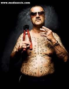 Fat Belly Chopper Unchopped - Crime documentary / Biography Fat Belly Chopper Unchopped: A raw, unique and personal account of Mark 'Chopper' Read's life in his own words. Outlaw Tattoo, Real Gangster, Hard Men, Being Good, Celebrity Pictures, Biography, I Movie, My Hero, Chop Chop